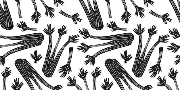 手描きのセロリのシームレスなパターン。有機漫画新鮮な野菜のイラスト。