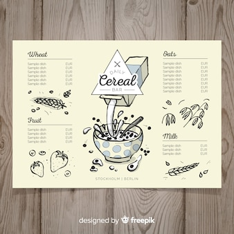 Hand drawn cereals menu template