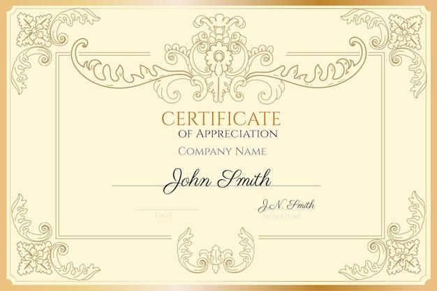 Modello di certificato di apprezzamento disegnato a mano