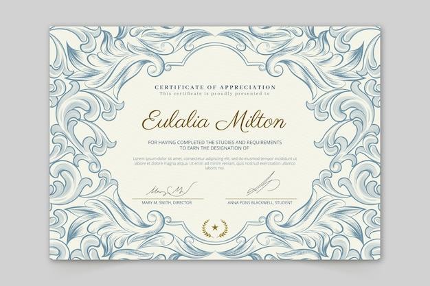 Certificato di apprezzamento disegnato a mano