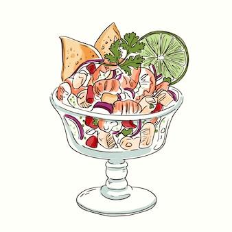 Hand drawn ceviche illustration
