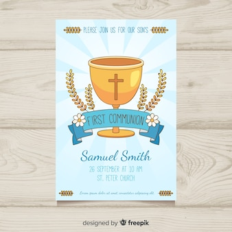 Hand drawn chailce first communion invitation