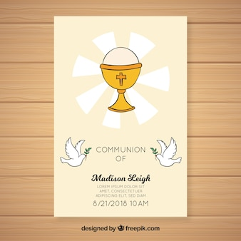 Hand drawn chalice first communion invitation