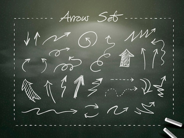 Hand drawn chalk arrows collection over blackboard