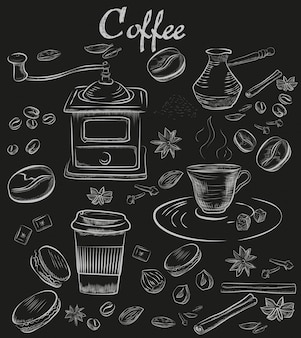 Hand-drawn chalk coffee collection