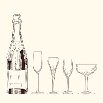 Hand drawn champagne bottle and glass. engraving style on white background.