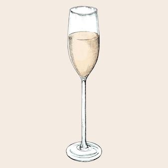 Hand drawn champagne glass