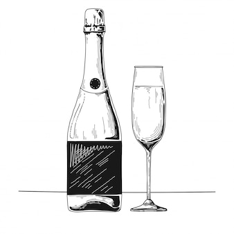 Hand drawn champagne sketch