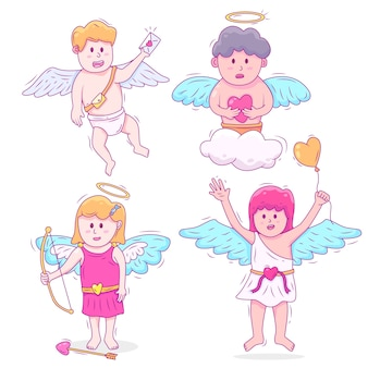 Hand drawn character collection with cupid