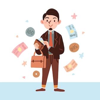Carattere disegnato a mano che tiene un sacchetto di monete