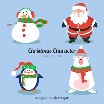 Hand drawn characters christmas collection
