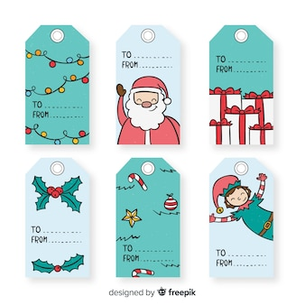 Hand drawn characters christmas labels