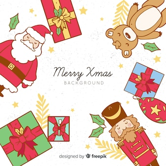 Hand drawn characters frame christmas background