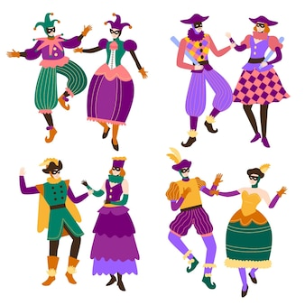 Hand drawn characters wearing italian carnival costumes