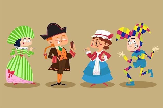 Personaggi disegnati a mano che indossano costumi di carnevale italiano