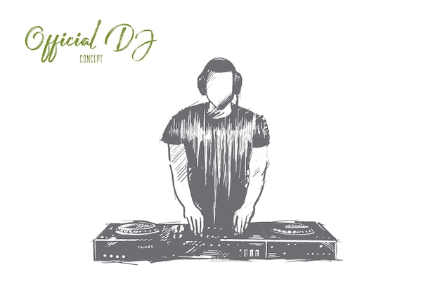 Hand drawn charismatic disc jockey at the turntable