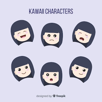 Hand drawn charming character face collection