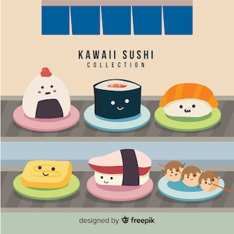 Hand drawn charming sushi collection