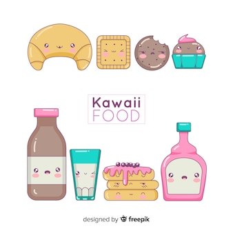 Hand drawn charming sweet food collection