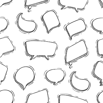 Hand drawn chat bubbles seamless pattern