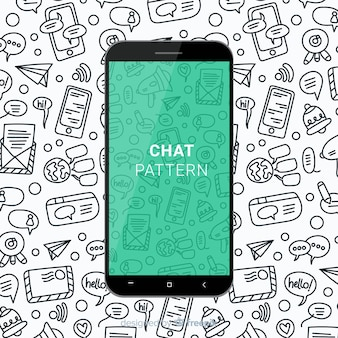 Hand drawn chat mobile pattern