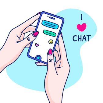 Hand drawn chatting with woman hands concept