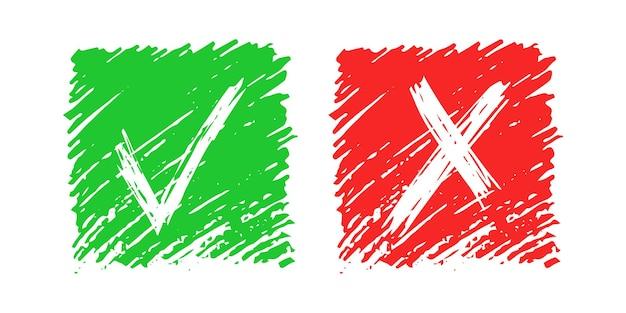 手描きのチェックと白い背景で隔離のクロスサイン要素。緑のグランジ落書きチェックマークokと赤のxは正方形のアイコンを溺れさせます。ベクトルイラスト