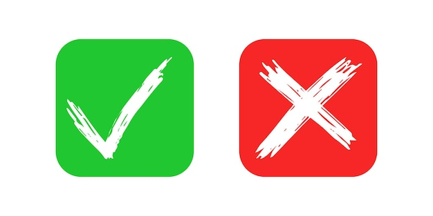 Hand drawn check and cross sign elements isolated on white background. grunge doodle green checkmark ok and red x on rounded square icons. vector illustration
