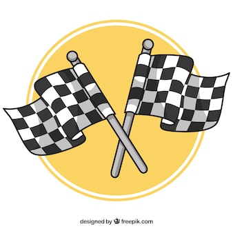 Hand drawn checkered flag background