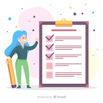 Sfondo di checklist disegnato a mano