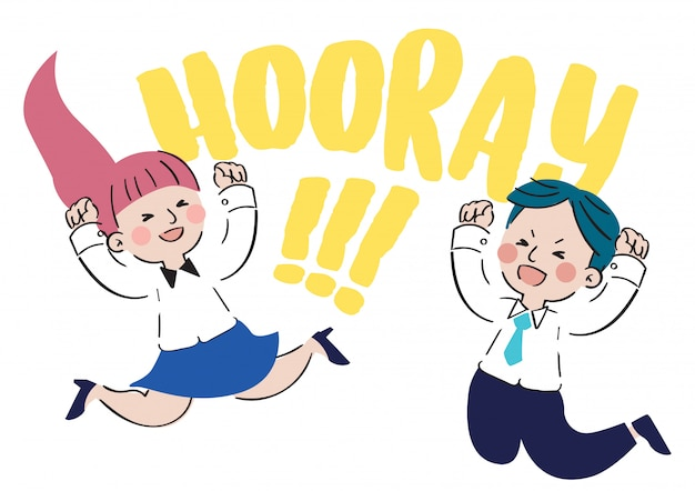 Hand drawn cheerful character cartoon design vector