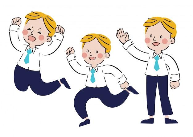 Hand drawn cheerful male character cartoon