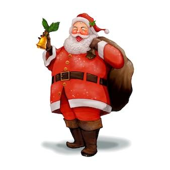 手を引く陽気なサンタクロースは、プレゼントの袋を運ぶ