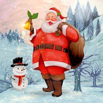 손으로 그린 명랑 산타 클로스 선물 자루를 들고