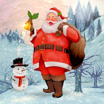 Hand drawn cheerful santa claus carrying a presents sack