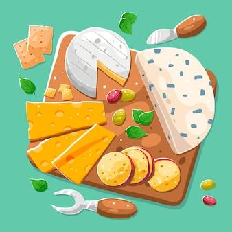 Tagliere di formaggi disegnato a mano illustrato