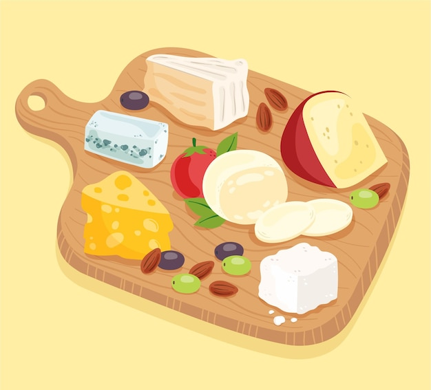 Tagliere di formaggi disegnati a mano