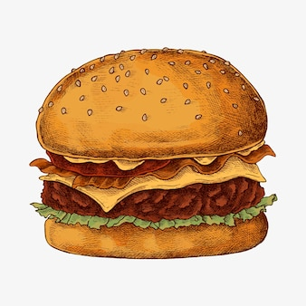 Hand drawn cheese burger