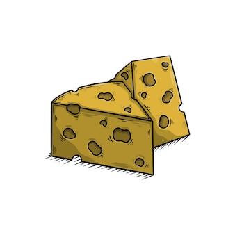 Рисованной сыр векторные иллюстрации