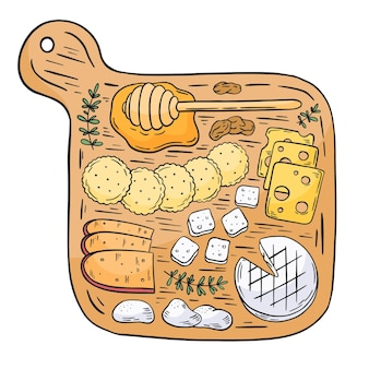 Hand drawn cheese on wooden board