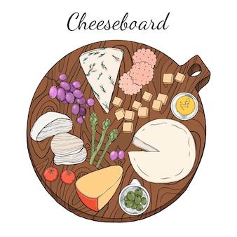 손으로 그린 된 치즈 보드