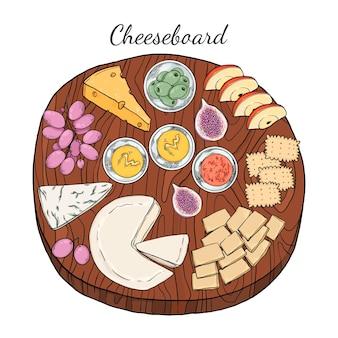手描きのチーズボード