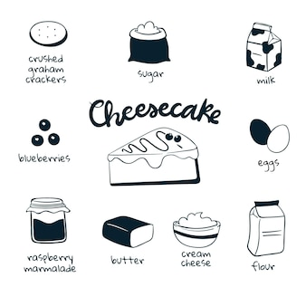 Hand drawn cheesecake delicious recipe
