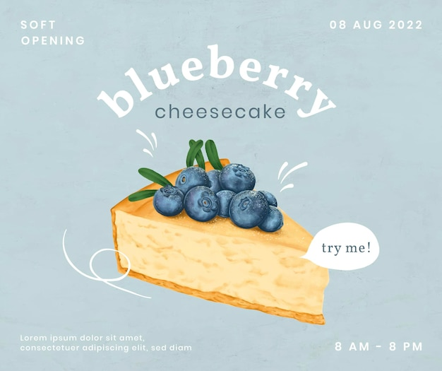 Hand drawn cheesecake social media post template