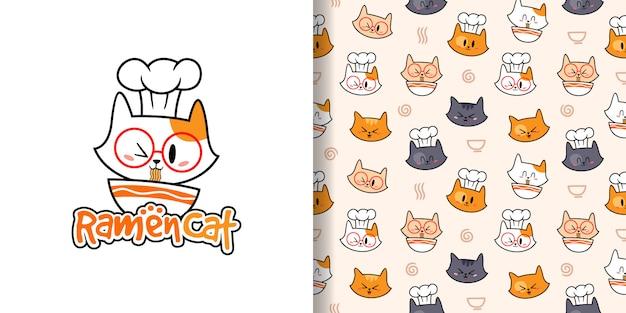 手描きシェフ猫イラストとシームレスなパターン
