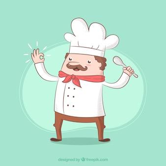 손으로 그린 요리사 캐릭터