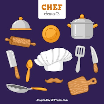 Hand-drawn chef hat and other items