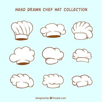 손으로 그린 요리사 모자 팩
