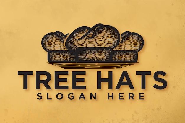 手描きのシェフの帽子、レストラン、料理のロゴのインスピレーション