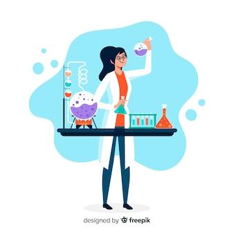 実験の背景をしている手描きの化学者